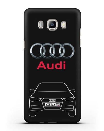 Чехол Audi A4 с номерным знаком силикон черный для Samsung Galaxy J7 2016 [SM-J710F]