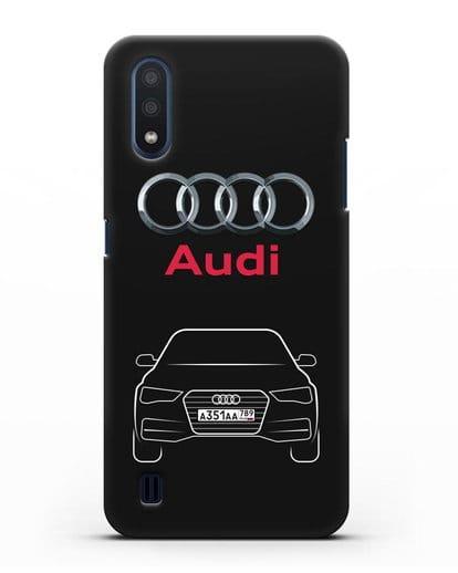 Чехол Audi A4 с номерным знаком силикон черный для Samsung Galaxy M01 [SM-M015F]