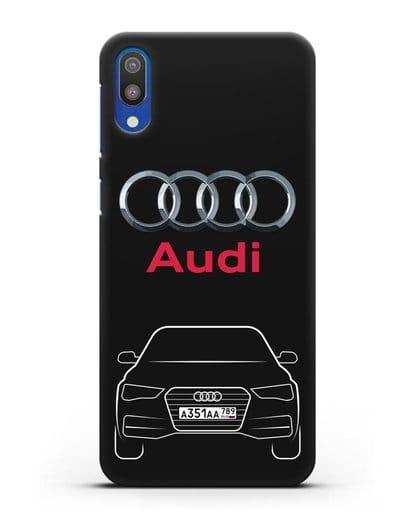 Чехол Audi A4 с номерным знаком силикон черный для Samsung Galaxy M10 [SM-M105F]