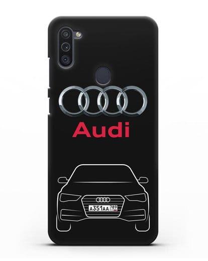 Чехол Audi A4 с номерным знаком силикон черный для Samsung Galaxy M11 [SM-M115F]