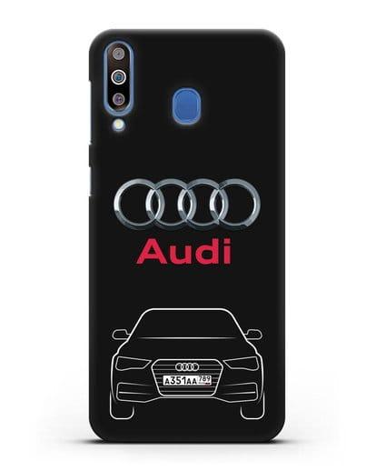 Чехол Audi A4 с номерным знаком силикон черный для Samsung Galaxy M30 [SM-M305F]