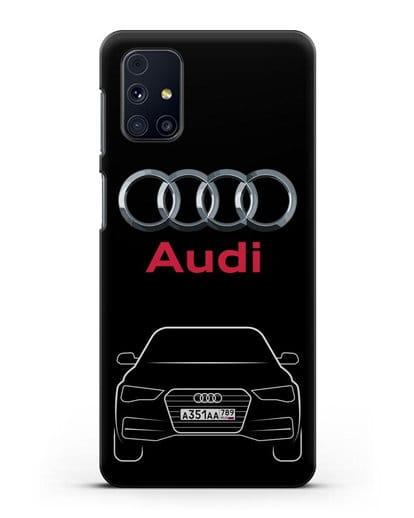 Чехол Audi A4 с номерным знаком силикон черный для Samsung Galaxy M31s [SM-M317F]