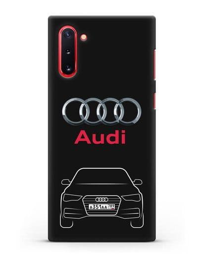 Чехол Audi A4 с номерным знаком силикон черный для Samsung Galaxy Note 10 [N970F]