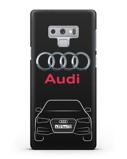 Чехол Audi A4 с номерным знаком силикон черный для Samsung Galaxy Note 9 [N960F]