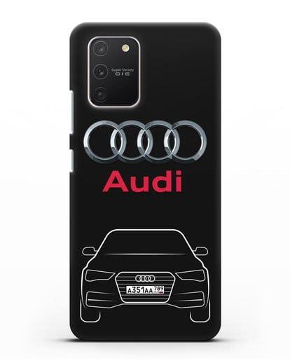 Чехол Audi A4 с номерным знаком силикон черный для Samsung Galaxy S10 lite [SM-G770F]