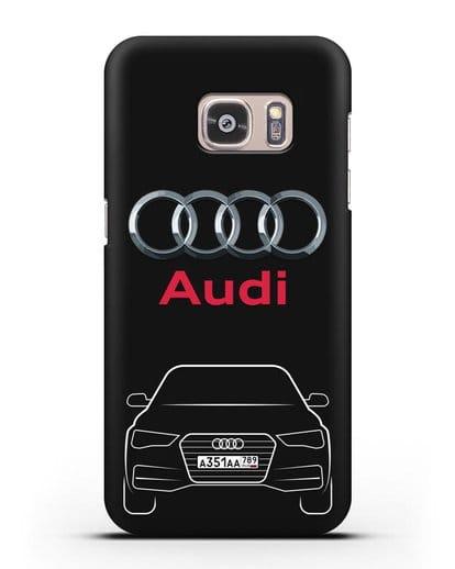 Чехол Audi A4 с номерным знаком силикон черный для Samsung Galaxy S7 Edge [SM-G935F]