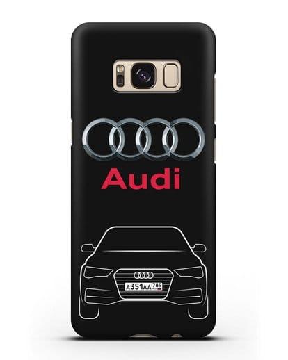 Чехол Audi A4 с номерным знаком силикон черный для Samsung Galaxy S8 Plus [SM-G955F]