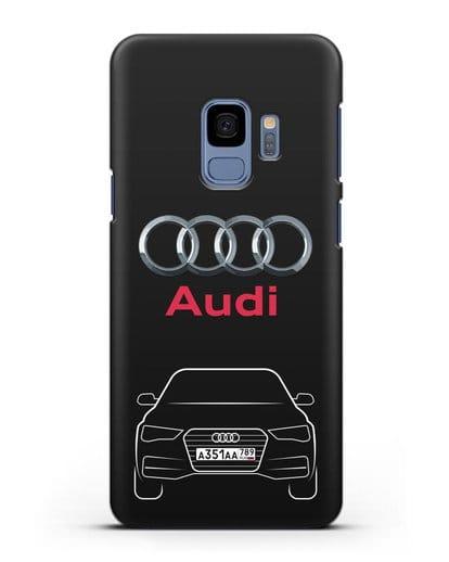 Чехол Audi A4 с номерным знаком силикон черный для Samsung Galaxy S9 [SM-G960F]