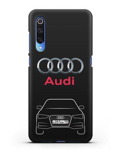 Чехол Audi A4 с номерным знаком силикон черный для Xiaomi Mi 9