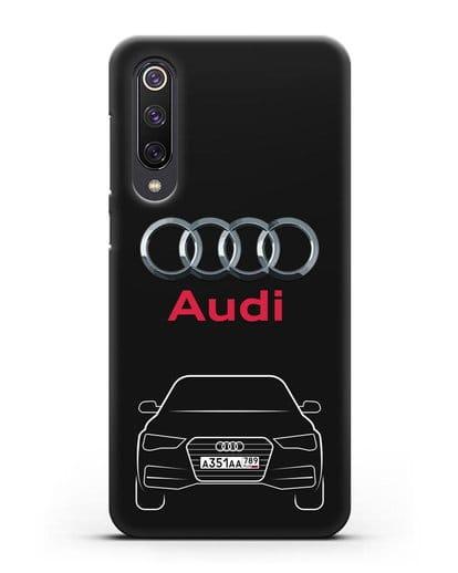 Чехол Audi A4 с номерным знаком силикон черный для Xiaomi Mi 9 SE