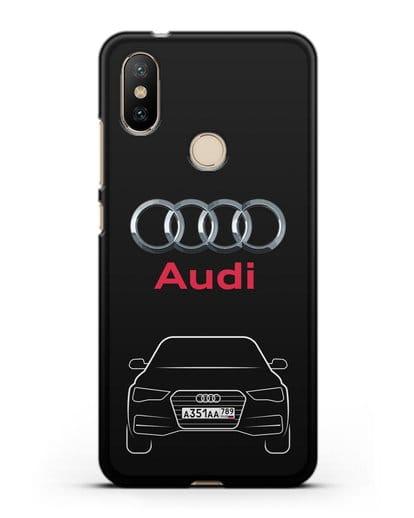 Чехол Audi A4 с номерным знаком силикон черный для Xiaomi Mi A2