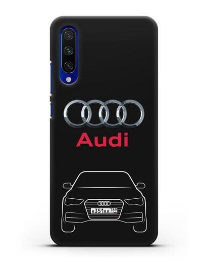 Чехол Audi A4 с номерным знаком силикон черный для Xiaomi Mi CC9 E