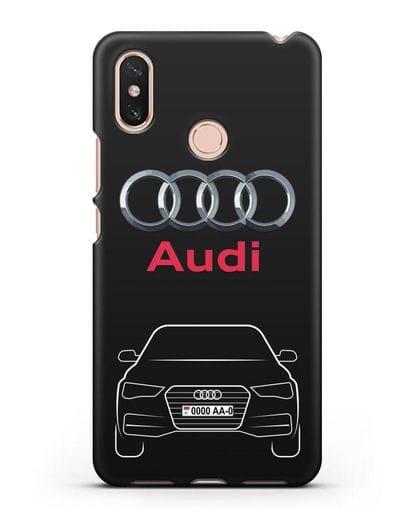 Чехол Audi A4 с номерным знаком силикон черный для Xiaomi Mi Max 3