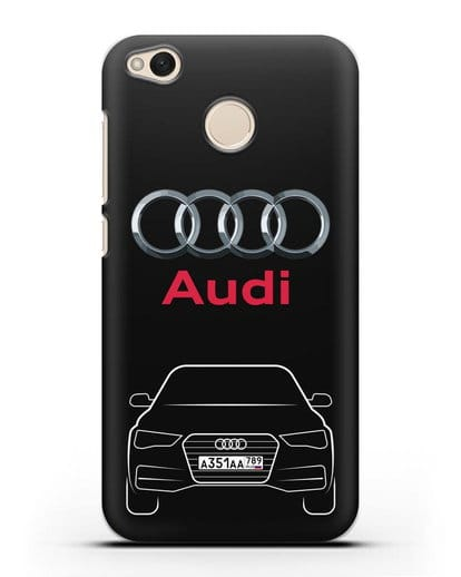 Чехол Audi A4 с номерным знаком силикон черный для Xiaomi Redmi 4X