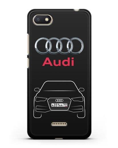 Чехол Audi A4 с номерным знаком силикон черный для Xiaomi Redmi 6A