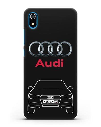 Чехол Audi A4 с номерным знаком силикон черный для Xiaomi Redmi 7A