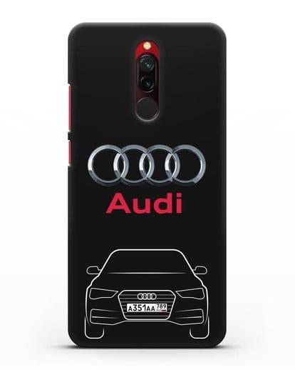 Чехол Audi A4 с номерным знаком силикон черный для Xiaomi Redmi 8