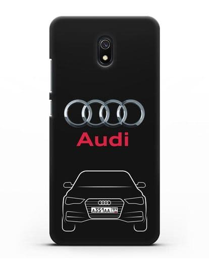 Чехол Audi A4 с номерным знаком силикон черный для Xiaomi Redmi 8A