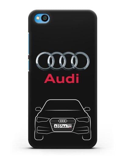 Чехол Audi A4 с номерным знаком силикон черный для Xiaomi Redmi Go