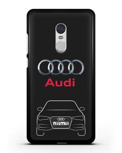 Чехол Audi A4 с номерным знаком силикон черный для Xiaomi Redmi Note 4X