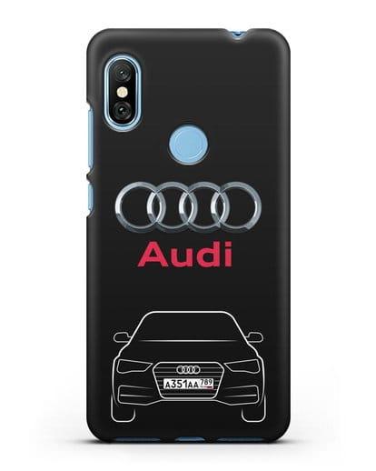 Чехол Audi A4 с номерным знаком силикон черный для Xiaomi Redmi Note 6 Pro