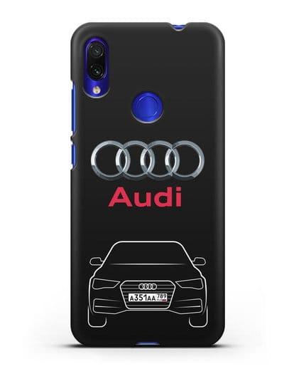 Чехол Audi A4 с номерным знаком силикон черный для Xiaomi Redmi Note 7