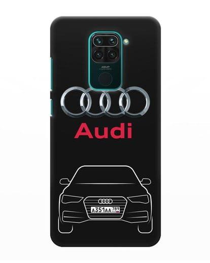Чехол Audi A4 с номерным знаком силикон черный для Xiaomi Redmi Note 9