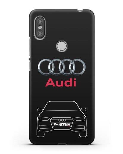Чехол Audi A4 с номерным знаком силикон черный для Xiaomi Redmi S2