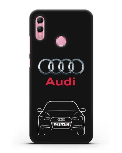 Чехол Audi A6 с номерным знаком силикон черный для Honor 10 Lite