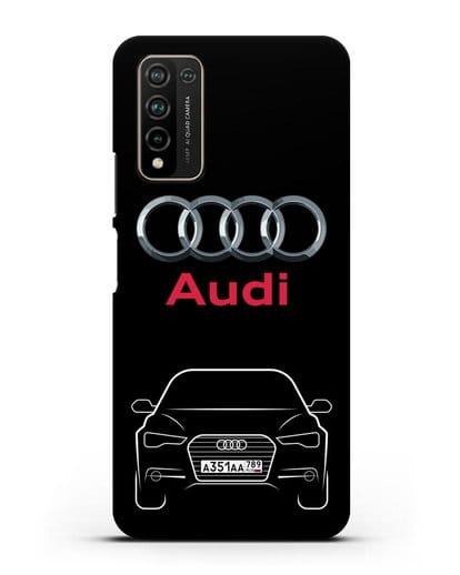 Чехол Audi A6 с номерным знаком силикон черный для Honor 10X Lite