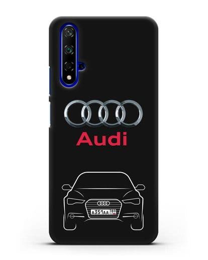 Чехол Audi A6 с номерным знаком силикон черный для Honor 20