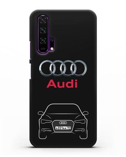 Чехол Audi A6 с номерным знаком силикон черный для Honor 20 Pro
