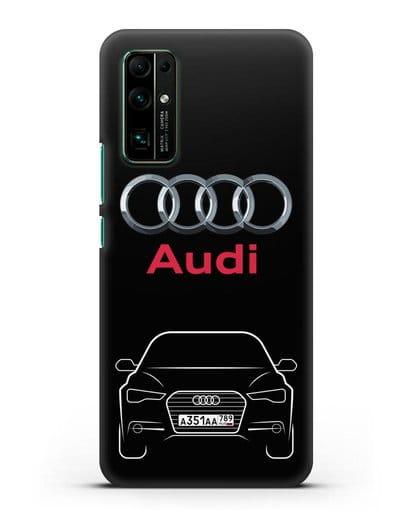 Чехол Audi A6 с номерным знаком силикон черный для Honor 30