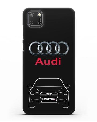 Чехол Audi A6 с номерным знаком силикон черный для Honor 9S