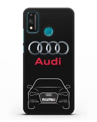 Чехол Audi A6 с номерным знаком силикон черный для Honor 9X lite