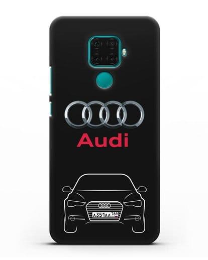 Чехол Audi A6 с номерным знаком силикон черный для Huawei Mate 30 Lite
