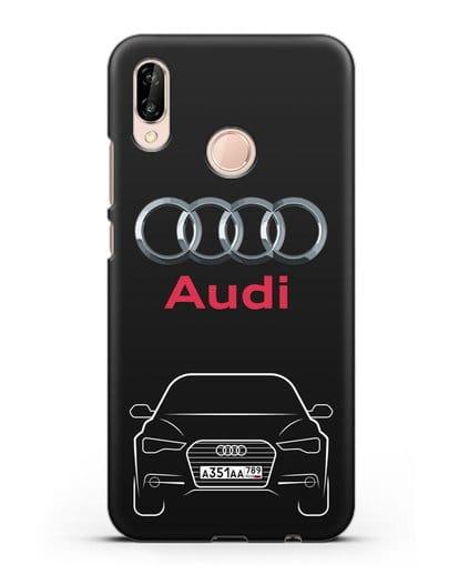 Чехол Audi A6 с номерным знаком силикон черный для Huawei P20 Lite