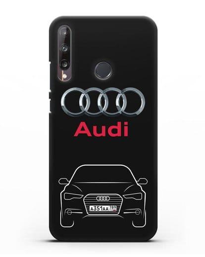 Чехол Audi A6 с номерным знаком силикон черный для Huawei P40 lite E