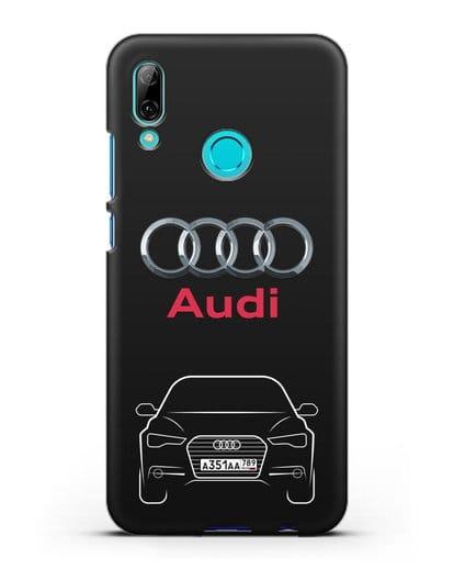 Чехол Audi A6 с номерным знаком силикон черный для Huawei P Smart 2019