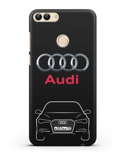Чехол Audi A6 с номерным знаком силикон черный для Huawei P Smart