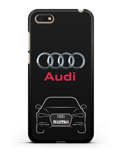 Чехол Audi A6 с номерным знаком силикон черный для Huawei Y5 Prime 2018