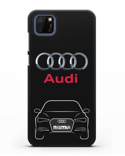 Чехол Audi A6 с номерным знаком силикон черный для Huawei Y5P