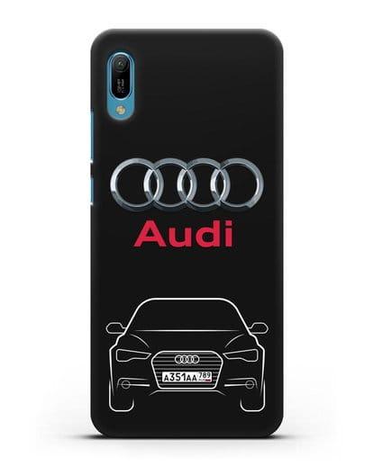 Чехол Audi A6 с номерным знаком силикон черный для Huawei Y6 2019