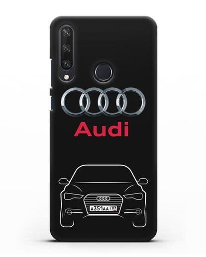 Чехол Audi A6 с номерным знаком силикон черный для Huawei Y6P