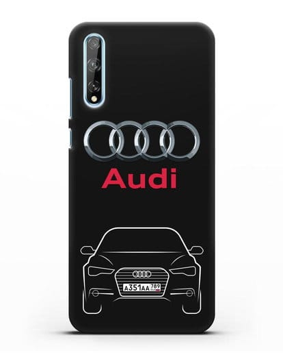 Чехол Audi A6 с номерным знаком силикон черный для Huawei Y8P