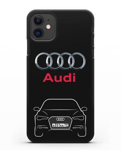 Чехол Audi A6 с номерным знаком силикон черный для iPhone 11