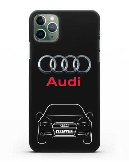 Чехол Audi A6 с номерным знаком силикон черный для iPhone 11 Pro Max