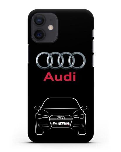 Чехол Audi A6 с номерным знаком силикон черный для iPhone 12 mini