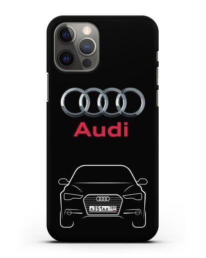 Чехол Audi A6 с номерным знаком силикон черный для iPhone 12 Pro