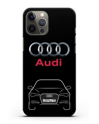 Чехол Audi A6 с номерным знаком силикон черный для iPhone 12 Pro Max